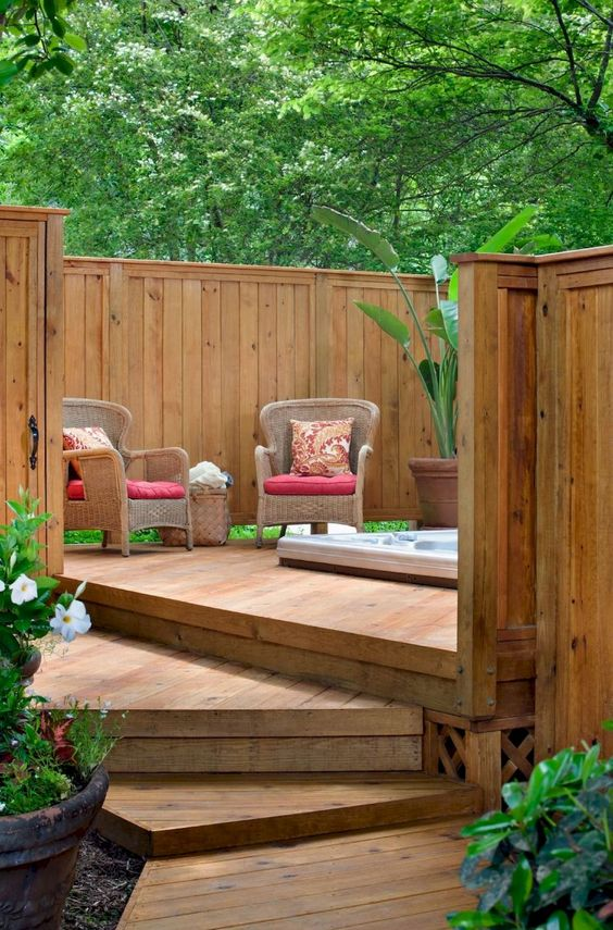 Hot Tub Privacy: Wooden Fence Deck