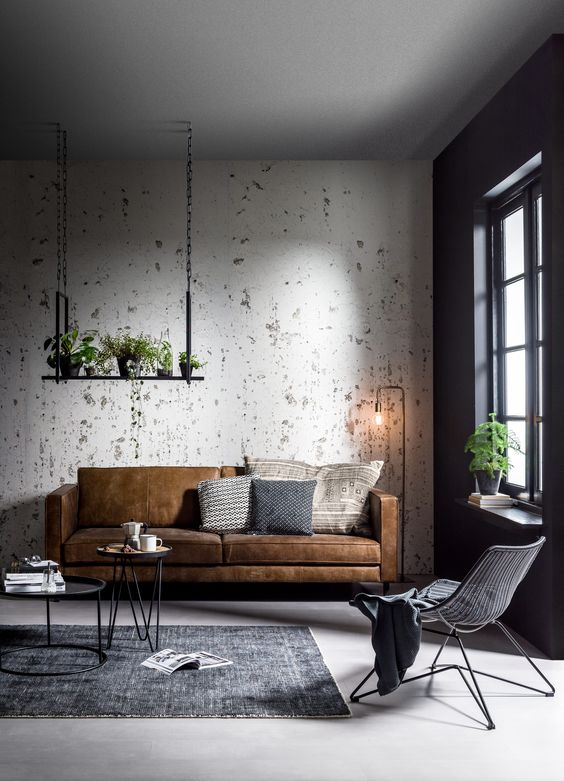 Living Room Wallpaper Ideas: Rustic Industrial Look