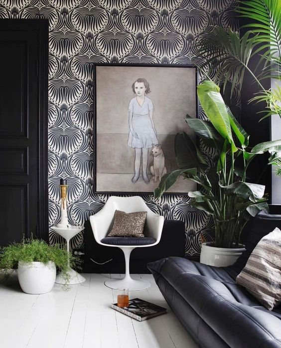 Living Room Wallpaper Ideas: Stunning Black and White