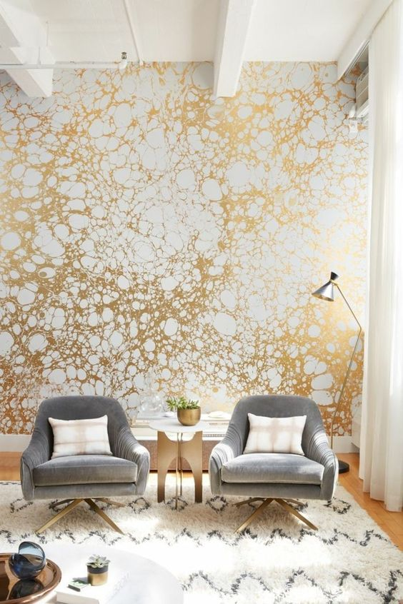 Living Room Wallpaper Ideas: Elegant Gold Shade