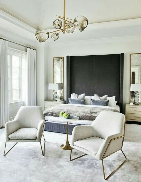 Luxury Bedroom Ideas: Simple Black and White