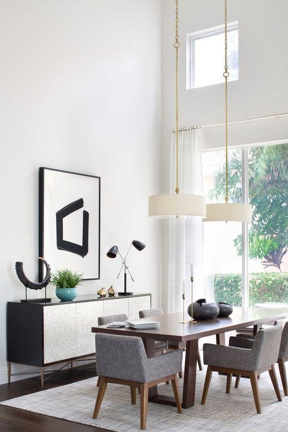 Mid-Century Dining Room Ideas: Elegant White Nuance