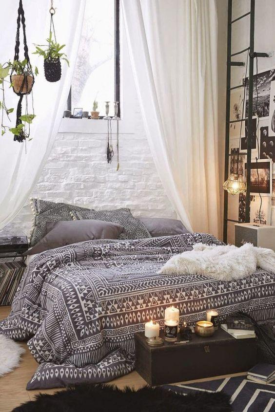 Bohemian Bedroom Ideas: Chic Monochromatic Look