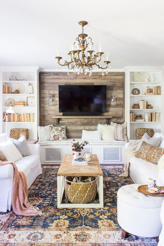 Living Room with TV Ideas: Modern Rustic Farmhouse