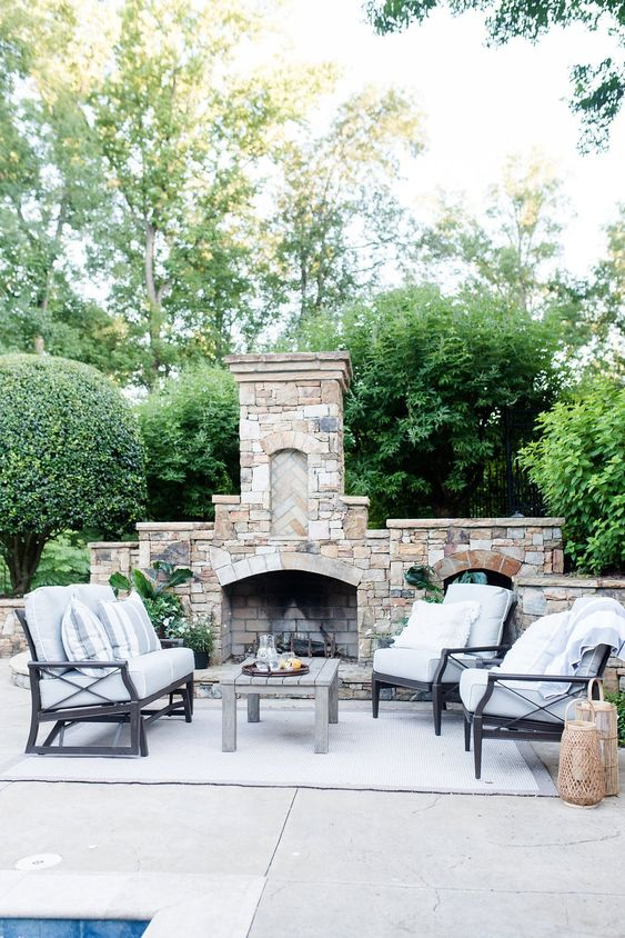Patio Fireplace Ideas: Classic Rustic Vibe