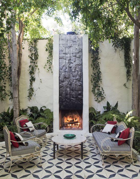 Patio Fireplace Ideas: Stylish Tiles Patio
