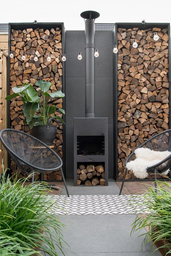 Patio Fireplace Ideas: Modern Earthy Decor