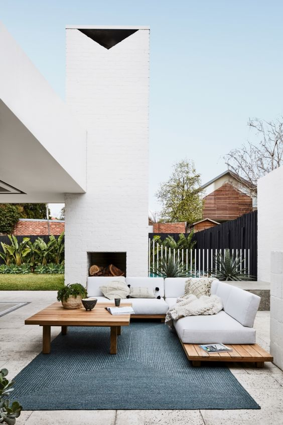 Patio Fireplace Ideas: Stylish Modern Concept