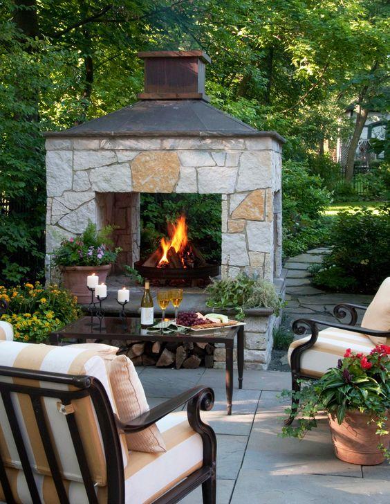 Patio Fireplace Ideas: Simple Concrete Patio