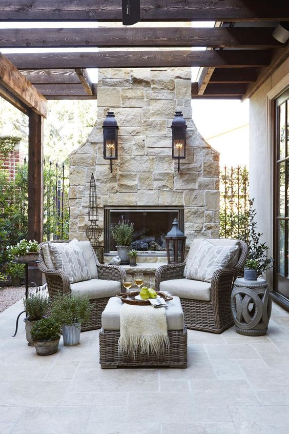 Patio Fireplace Ideas: Minimalist Concrete Tiles