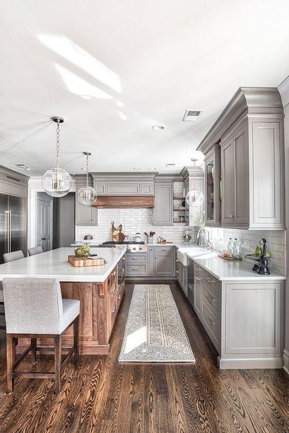 Farmhouse Kitchen Ideas: Stunning Grey Cabinets