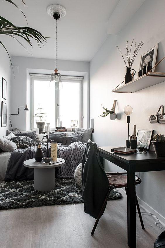 Small Bedroom Ideas: Minimalist Gray Shades