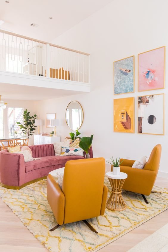Traditional Living Room Ideas: Pop Color Combination