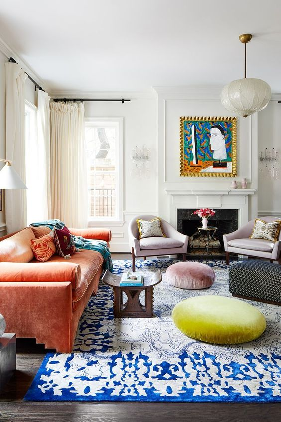 Traditional Living Room Ideas: Bright Pop Colors