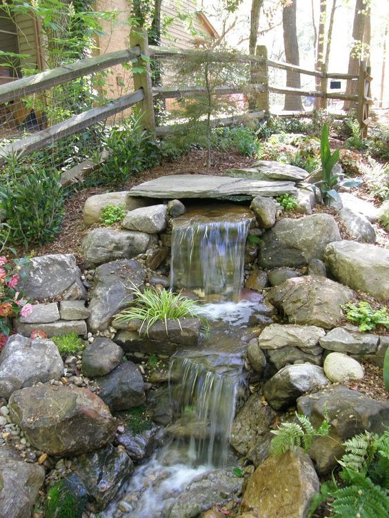 Backyard Pond Ideas: Natural Rocky Waterfall