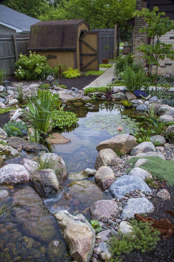 Backyard Pond Ideas: Dazzling Rocky Pond