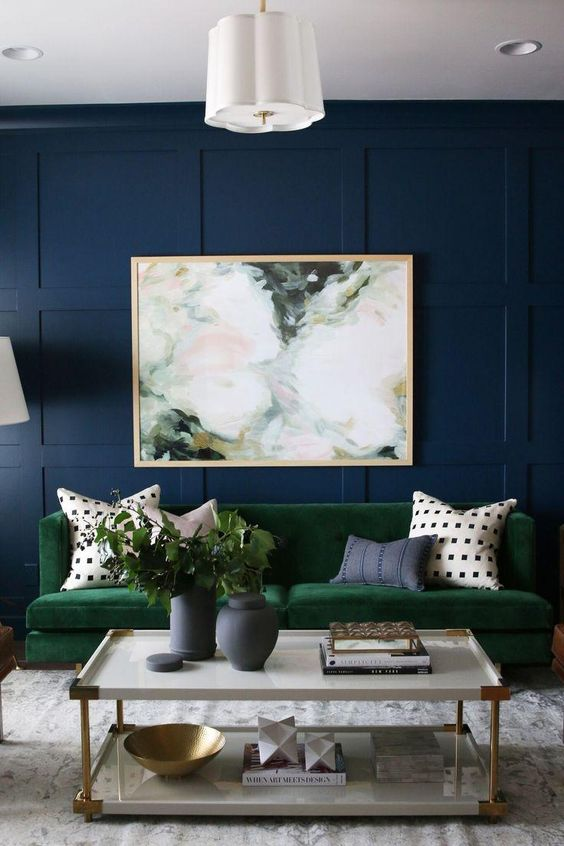 Blue Living Room Ideas: Striking Navy Accent