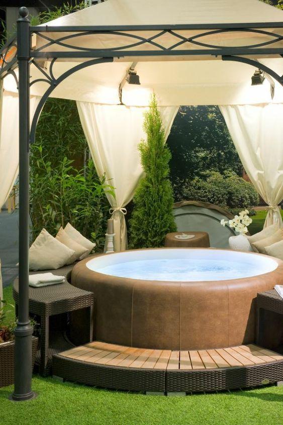 Inflatable Hot Tub: Elegant Wooden Deck