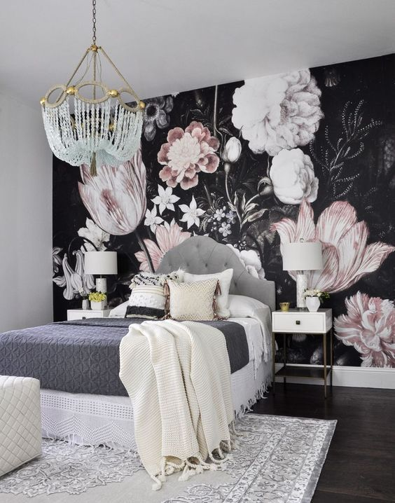 Bedroom Wallpaper Ideas: Dark Floral Wallpaper