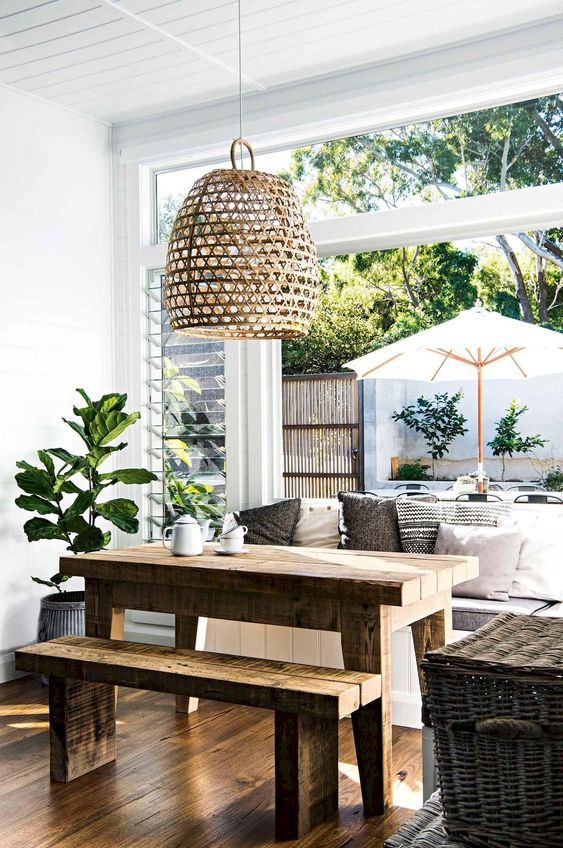 Dining Room Bench Ideas: Breezy Open Concept