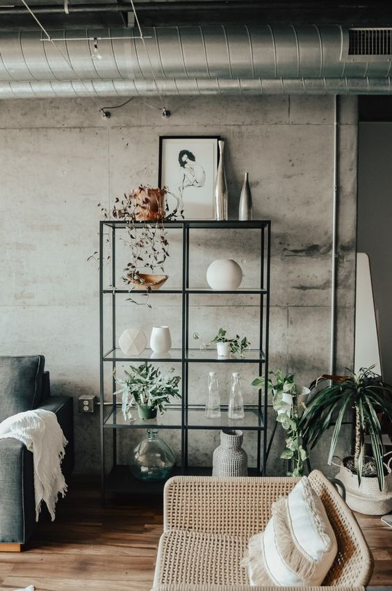 Industrial Living Room Ideas: Chic Concrete Accent