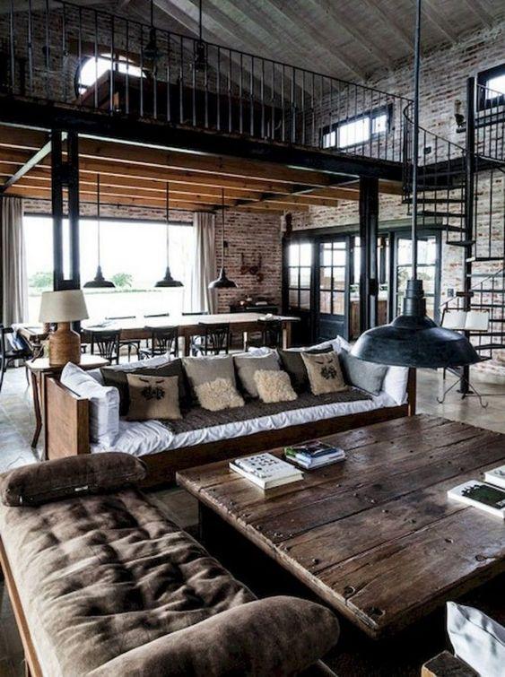 Industrial Living Room Ideas: Captivating Dark Wood