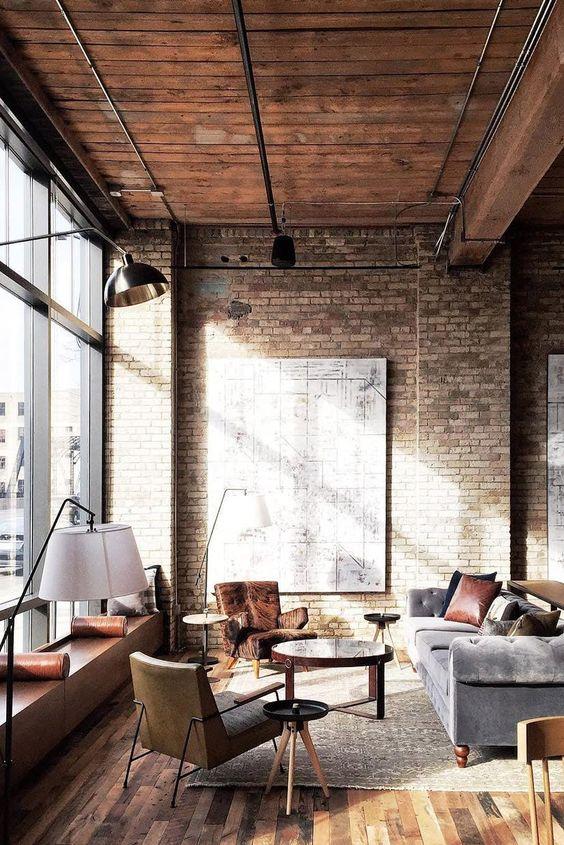 Industrial Living Room Ideas: Earthy Exposed Bricks