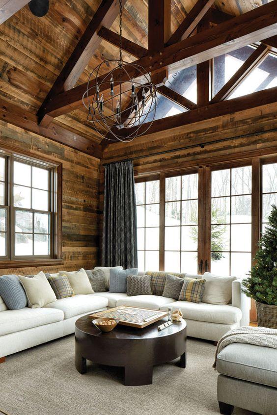 Industrial Living Room Ideas: Warm Wood Domination