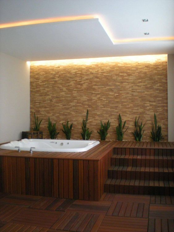 Modern Hot Tub Ideas: Earthy Indoor Decor