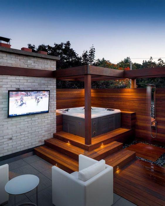 Modern Hot Tub Ideas: Outstanding Outdoor Deck