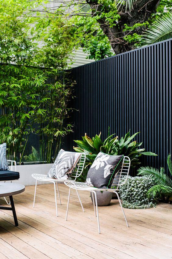 Outdoor Fence Ideas: Modern Black Fence