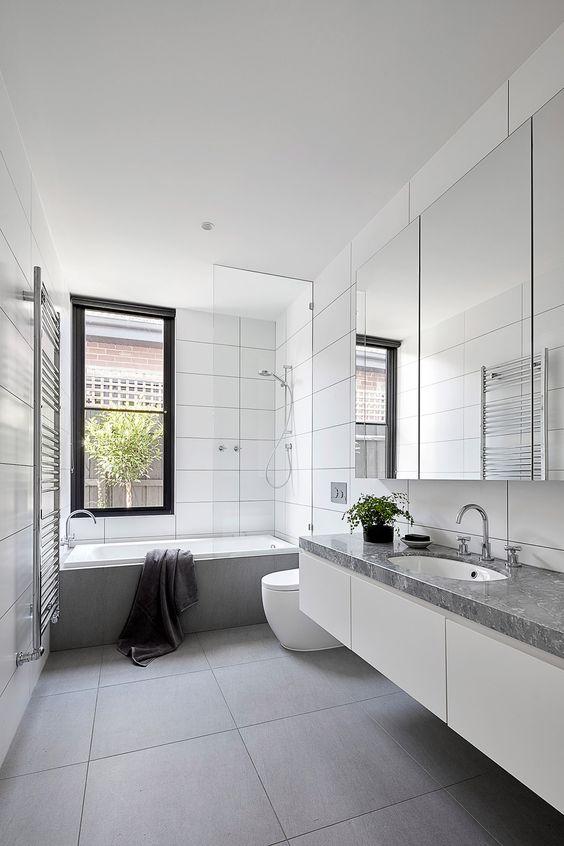 White Bathroom Ideas: Modern Gray Accents