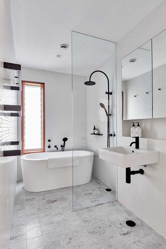White Bathroom Ideas: Modern Industrial Concept