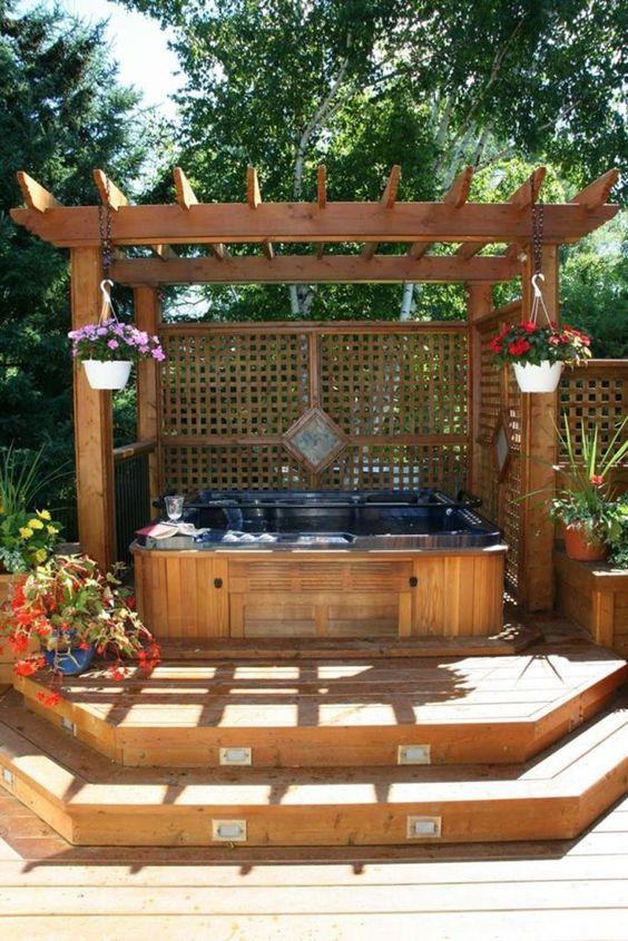 Hot Tub Pergola: Charming Rustic Decor