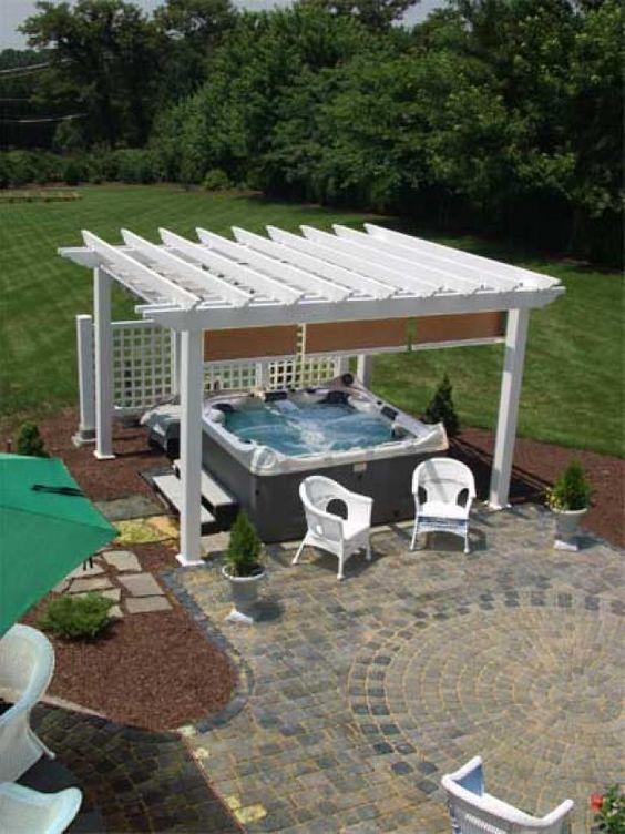 Hot Tub Pergola: Chic Farmhouse Concept