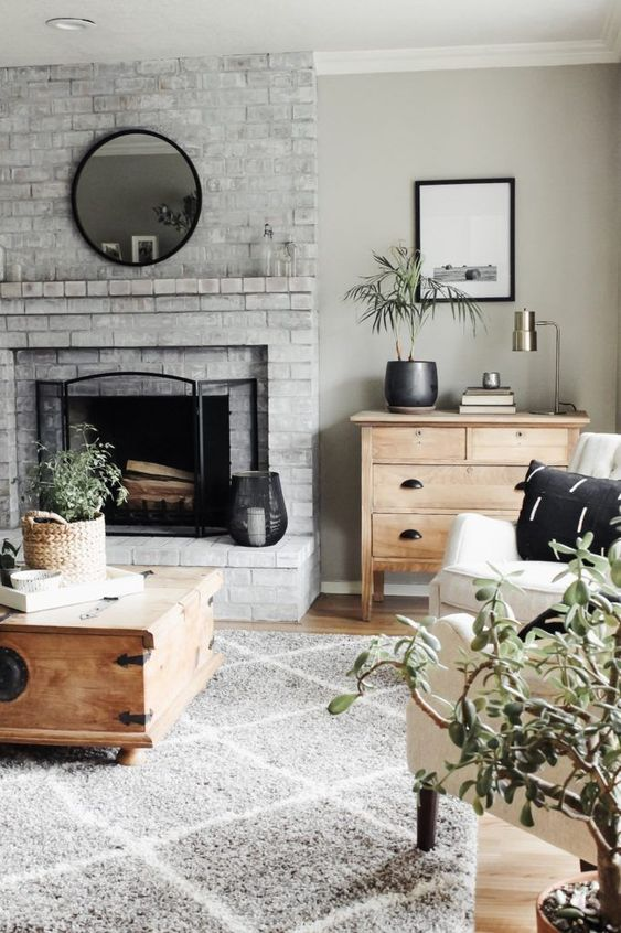Living Room with Fireplace: Chic Whitewashed Look