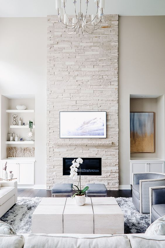 Living Room with Fireplace: Stylish Modern Design