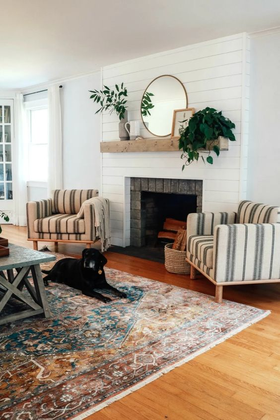 Living Room with Fireplace: Simple Farmhouse Feel