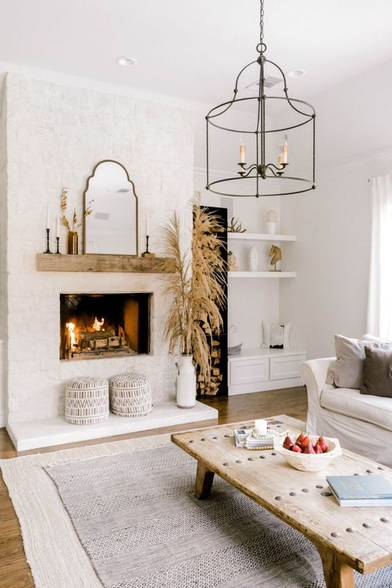 Living Room with Fireplace: Simple Small Fireplace