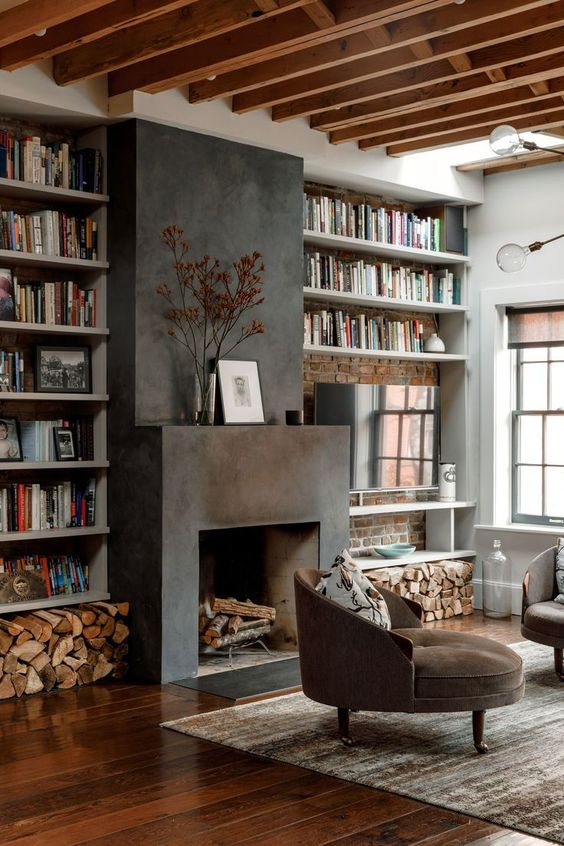 Living Room with Fireplace: Striking Dark Fireplace