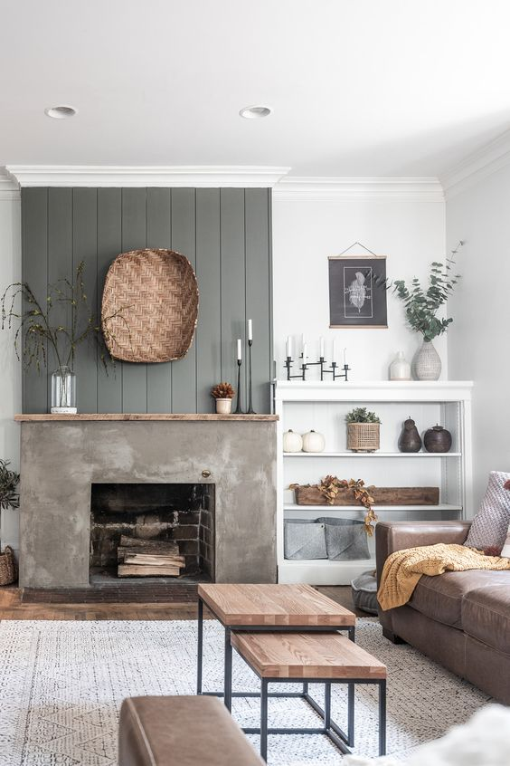 Living Room with Fireplace: Chic Raw Finish