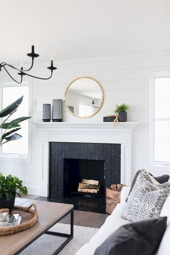 Living Room with Fireplace: Unique Tiles Accent