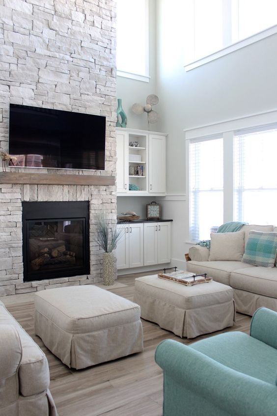 Living Room with Fireplace: Lovely Neutral Shades