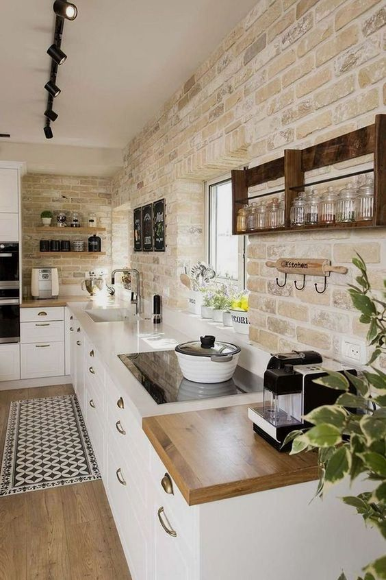 Rustic Kitchen Ideas: Unique Whitewashed Accent