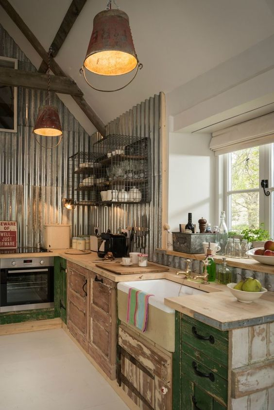 Rustic Kitchen Ideas: Corrugated Steel Accent