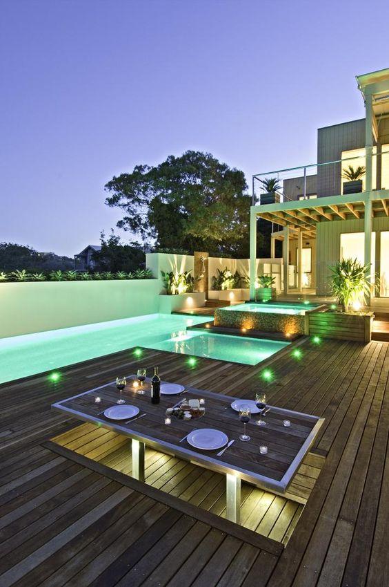 Swimming Pool Lighting Ideas: Warm Green Lights