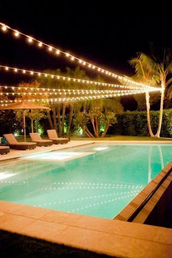 Swimming Pool Lighting Ideas: Minimalist String Lights
