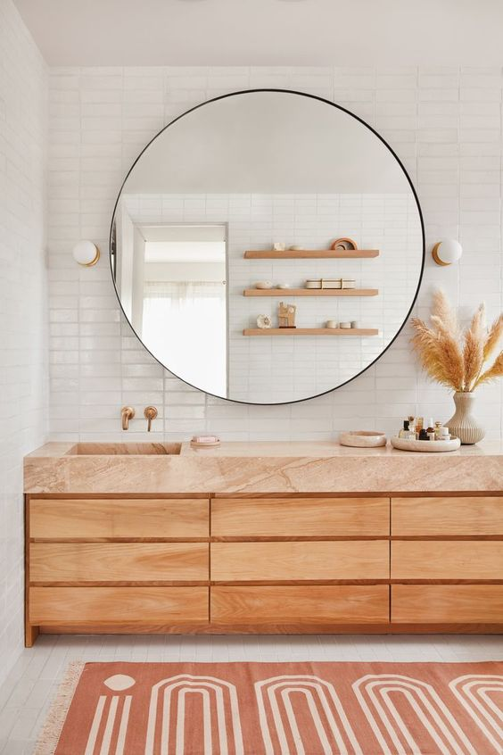 Bathroom Vanity Ideas: Captivating Earthy Feature
